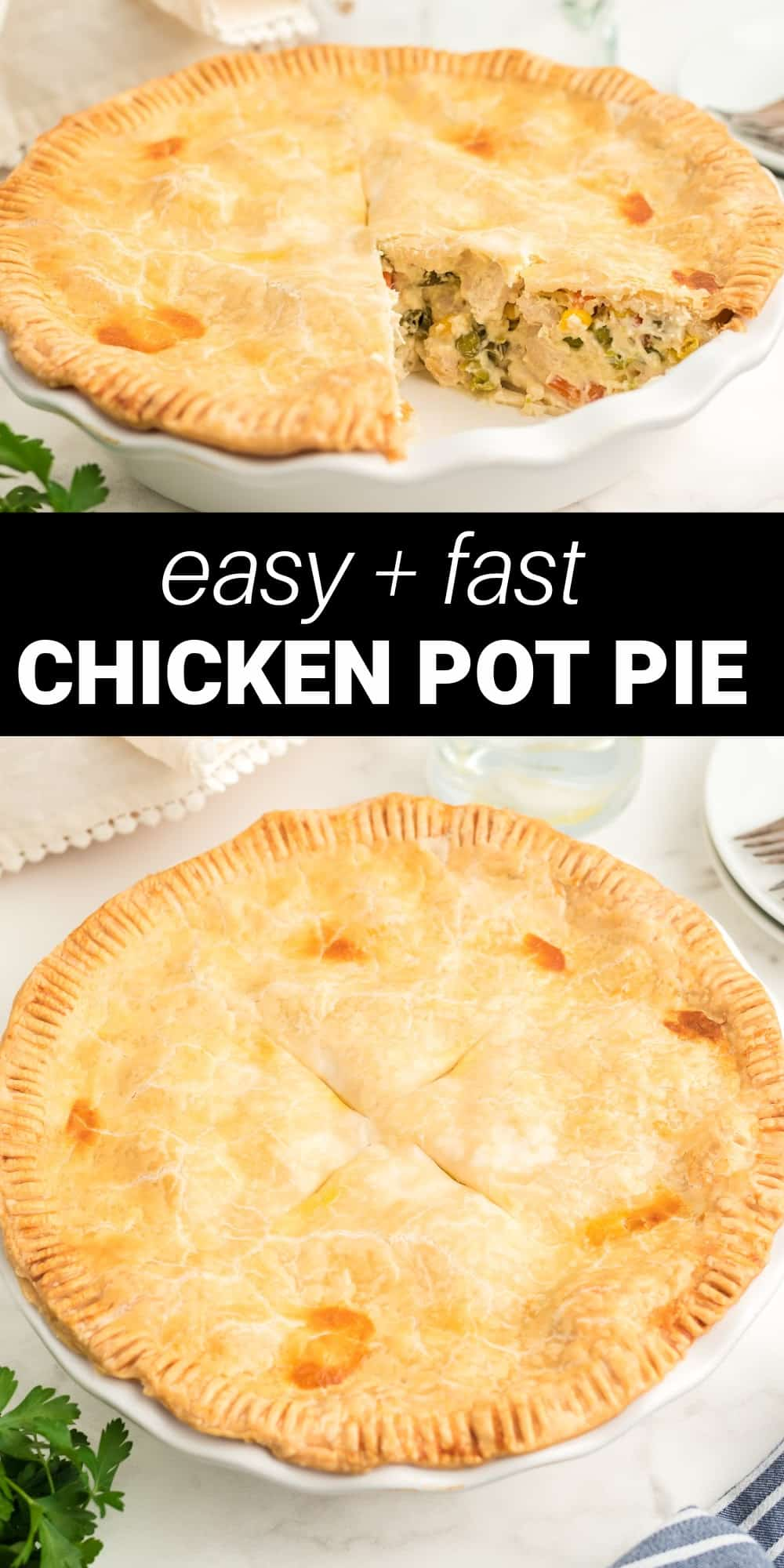 This easy chicken pot pie is the ultimate comfort food with a flaky pie crust, creamy sauce and a chicken and vegetable filling that's seasoned to perfection. Using two premade pie crusts makes this recipe a breeze! This is a hearty meal any time of year.