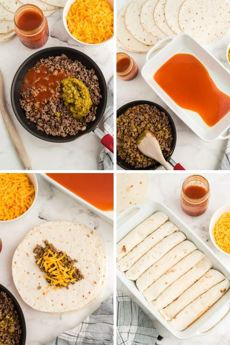 steps to make: ground beef in pan, add beef and cheese on top or tortilla, rolled tortillas in white baking dish