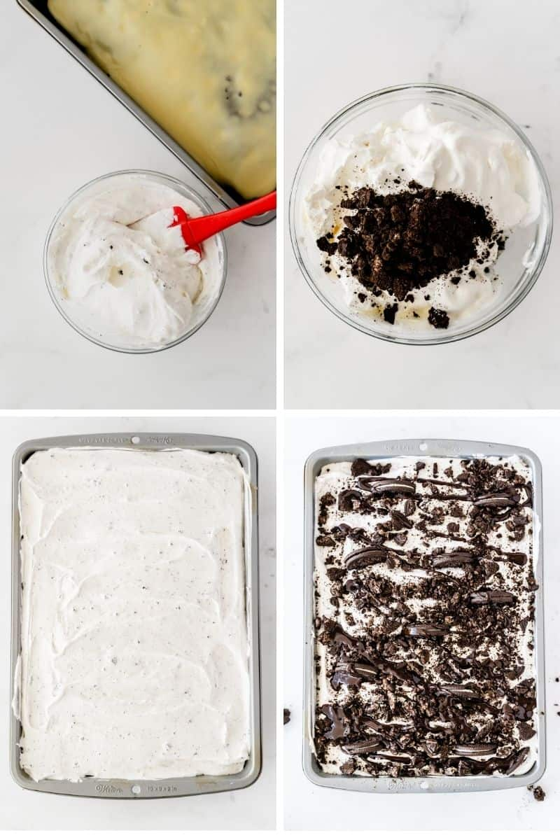 four process photos: mixing whipped cream, add cookie crumbs to whipped cream, spread whipped cream on top of cake, add layer of crushed oreos and oreo pieces