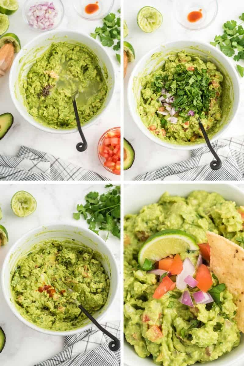 mashing avocado, then adding cilantro and onion, then tomato, and a close up with a chip coming out of the guacamole