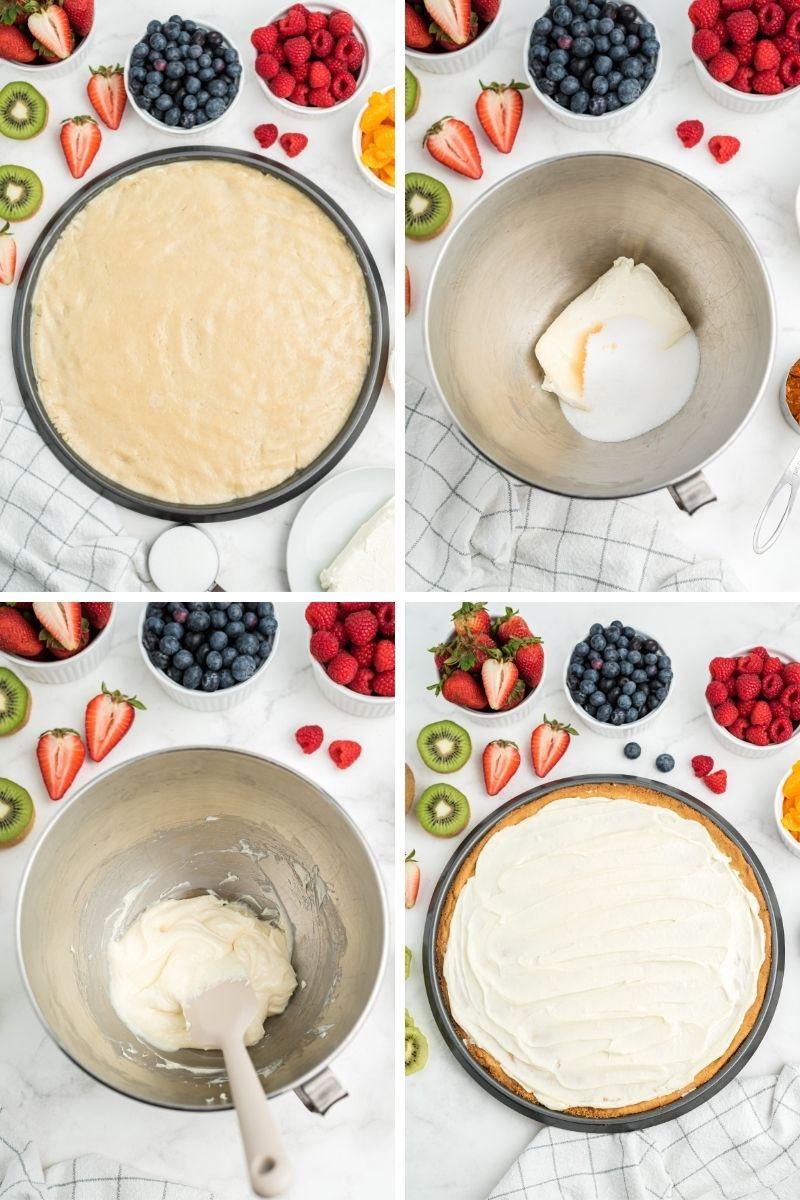 four process photos: sugar cookie dough spread out on pizza pan; cream cheese and sugar in mixing bowl; cream cheese and sugar creamed together; cream cheese mixture spread on top of sugar cookie crust