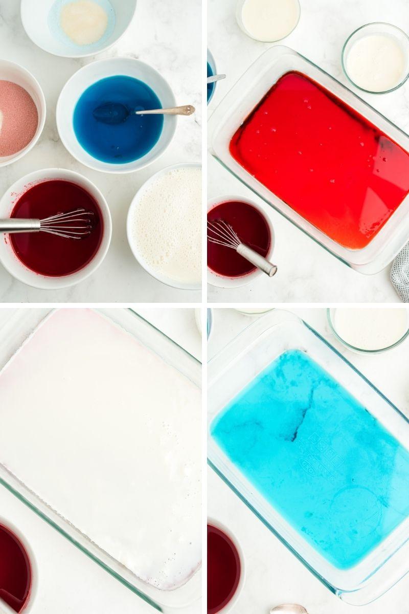four photos: blue, red, white gelatin in bowls; glass pan with red jello; glass pan with white gelatin; glass pan with blue jello