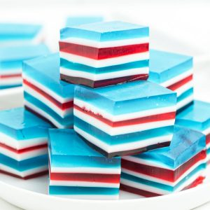 stacked red, white, and blue jello
