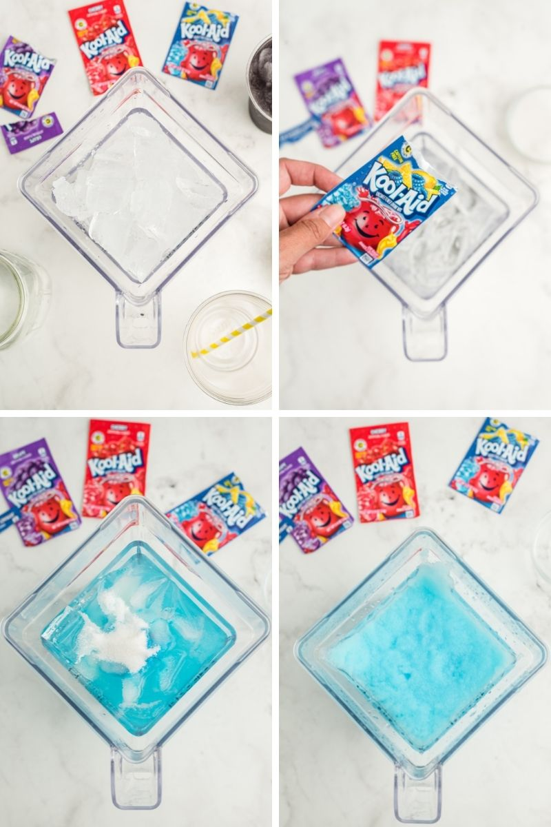 four photos: ice in blender; blue Kool-Aid packet on top of blender; Kool-Aid in mixer with water and ice - water is blue; blue slushie in blender