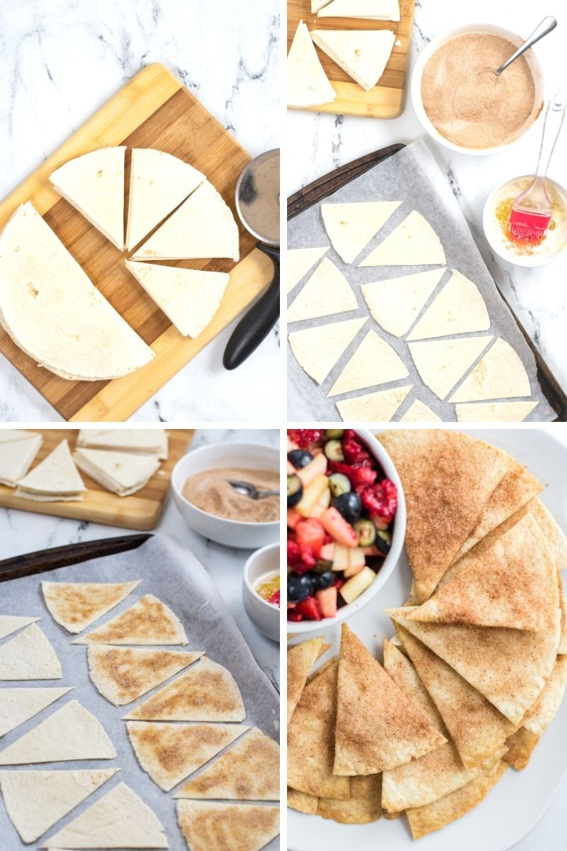 four photos: tortilla cut into triangles with pizza cutter; triangles on parchment; chips with cinnamon/sugar on them; cooked cinnamon sugar triangles on plate