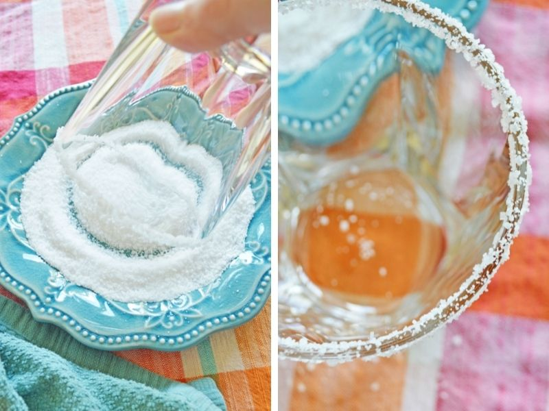 two photos: blue plate with salt and glass being dipped into salt; glass rimmed with salt