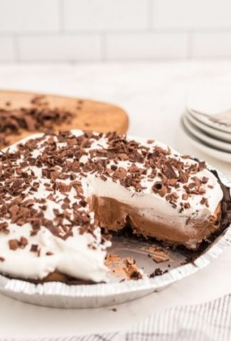 chocolate cream pie with slice taken out