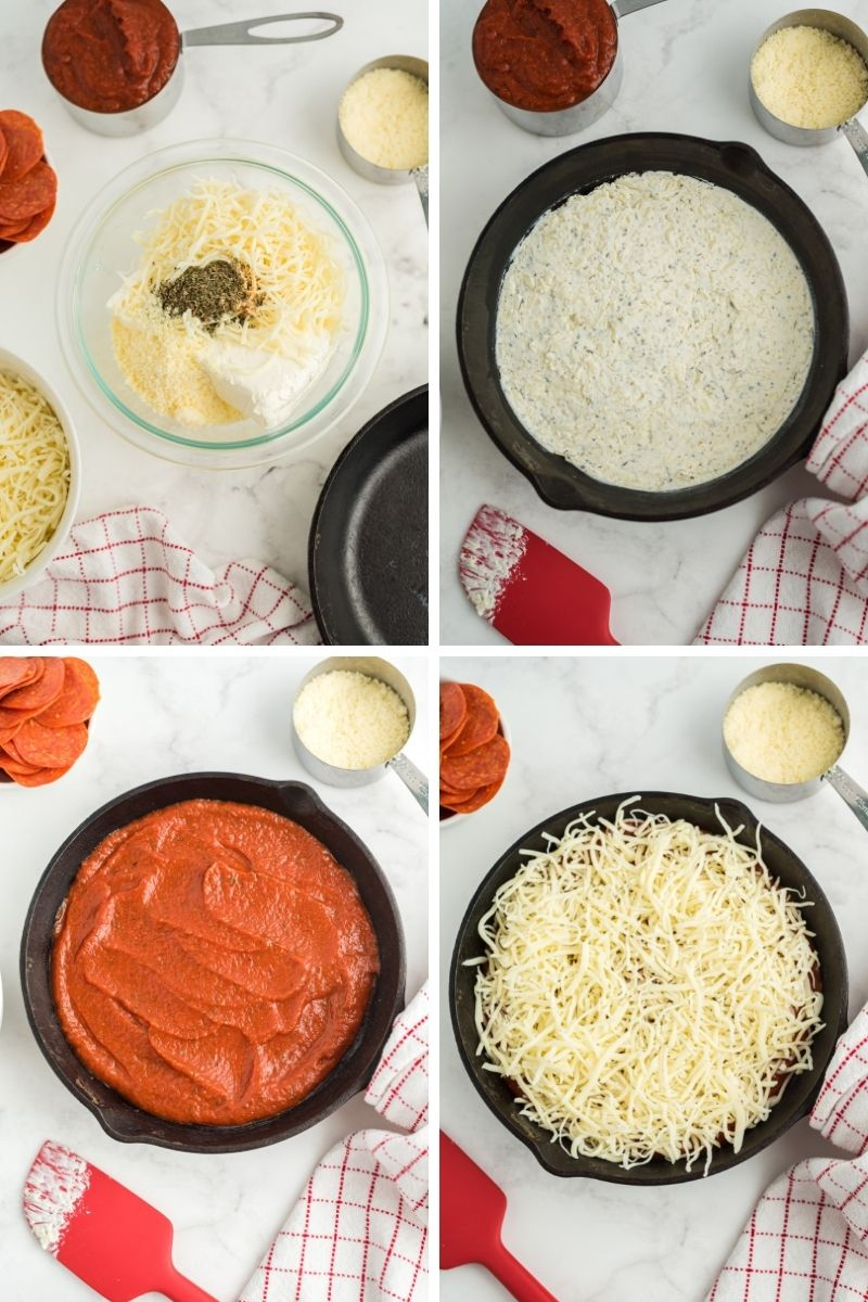 four photos: bowl with mozzarella, cream cheese and seasonings; mixture spread out on bottom of cast iron pan; topped with pizza sauce; topped with mozzarella cheese