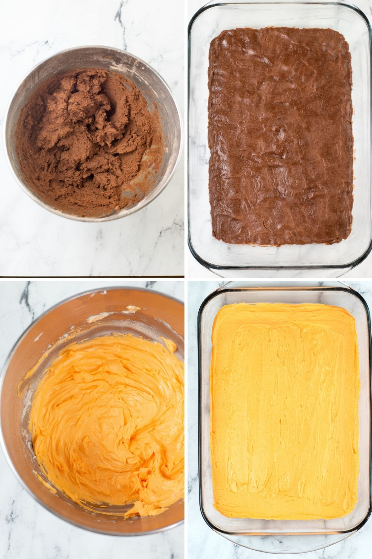 how to make steps: cookie ingredients mixed in metal bowl: baked in a clear 9x13 pan: orange buttercream mixed in metal bowl, spread on top of cookie in clear baking dish