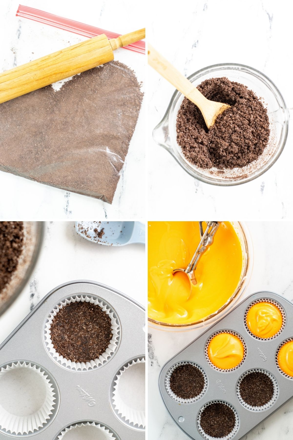 four pictures: gallon zipper baggie with chocolate crumbs and rolling pin; chocolate crumbs and melted butter; chocolate crumbs in the bottom of a cupcake liner; orange cheesecake filling with cookie scoop and placed on top of cookie crumbs