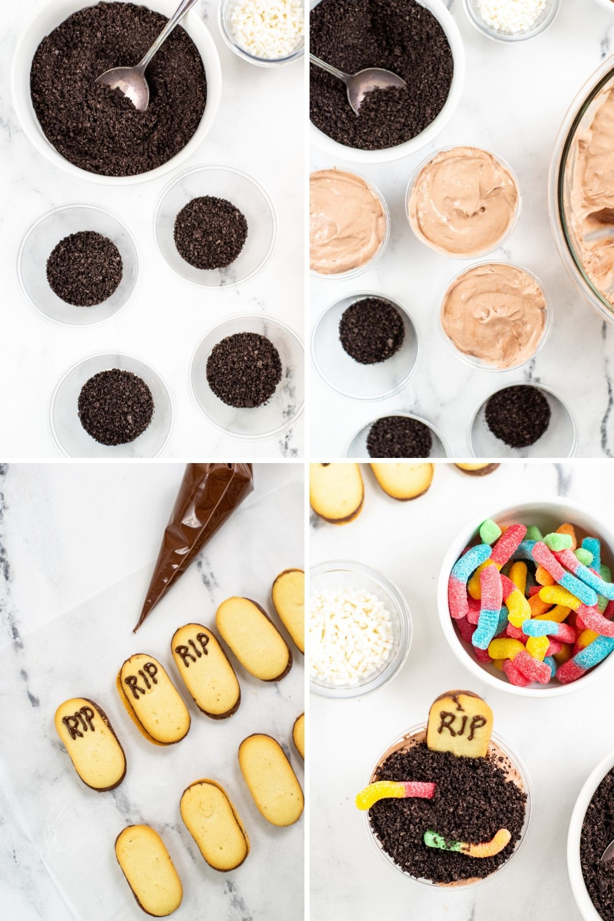 crushed Oreos in bottom of plastic cups, chocolate pudding added on top of crumbs, RIP being written on Milano cookies with piping bag, top of finished pudding cup with gummy worms on the side.