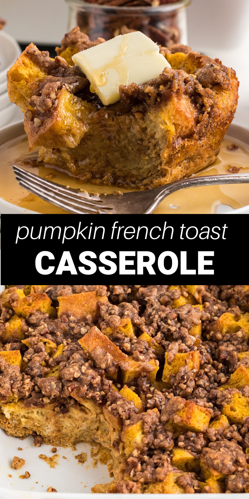 Pumpkin French Toast Casserole is delicious twist on the classic breakfast dish that's perfect for fall. French bread is immersed in heavy cream, brown sugar, pumpkin puree and warm pumpkin pie spices, then topped a sugary pecan mixture that's makes a breakfast dish worthy of any holiday.