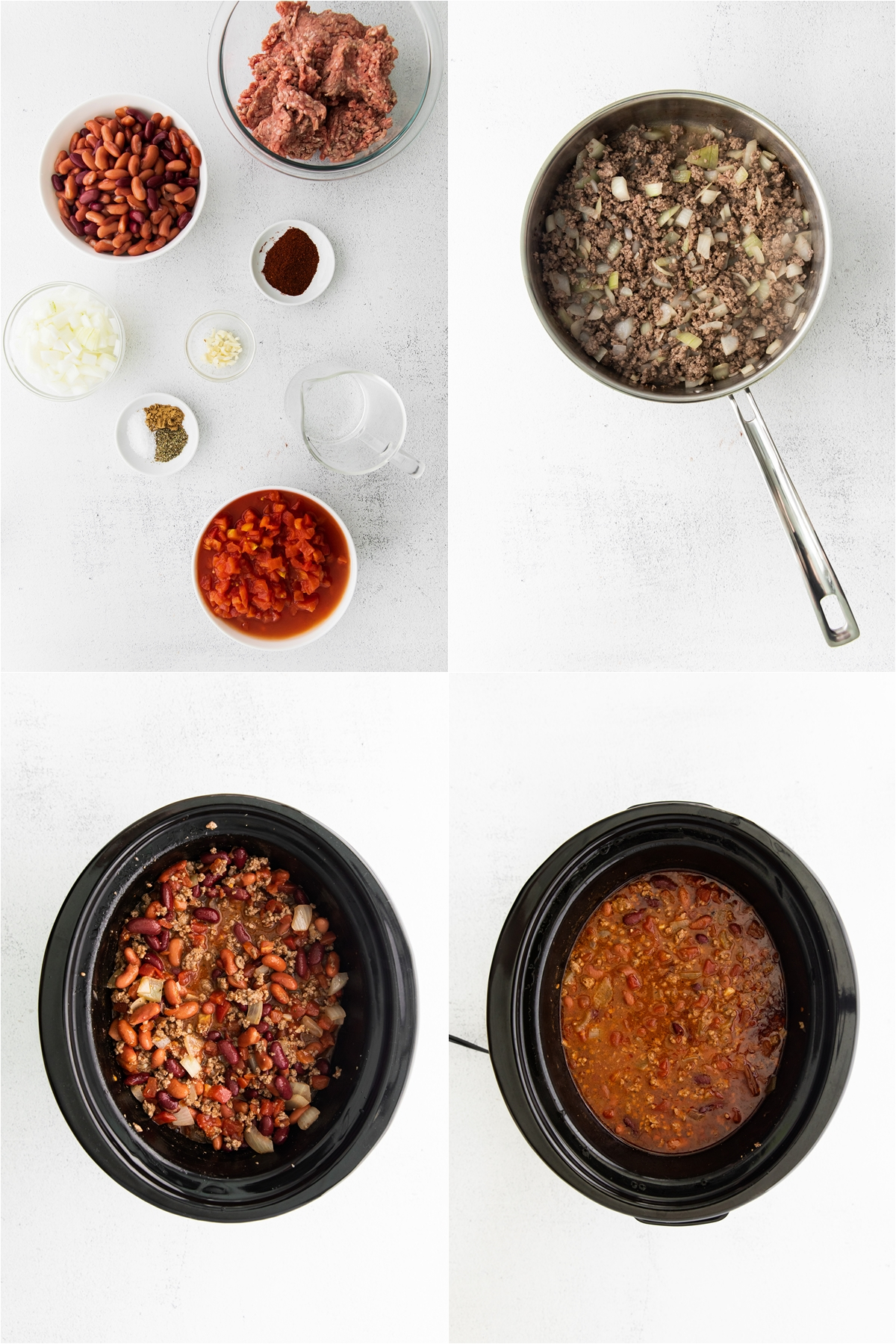 Process of Easy Slow Cooker Chili recipe with ground beef, chopped onions, and minced garlic on a skillet.