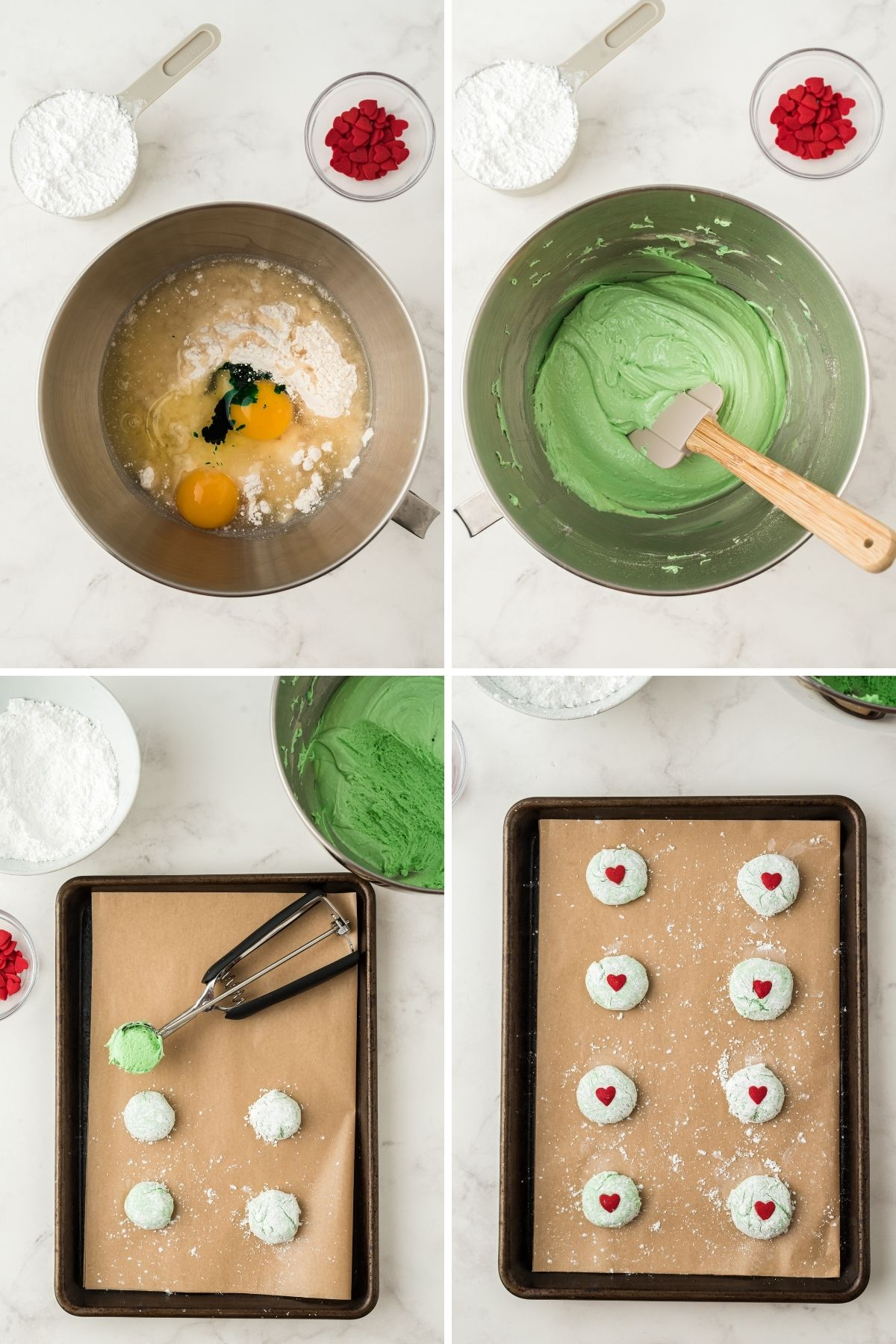 four steps: bowl with ingredients and raw eggs and green food coloring; bowl with green mixture; sheet pan with parchment and four cookies and a cookie scoop; baking sheet with cookies lines up with a heart sprinkle in the center
