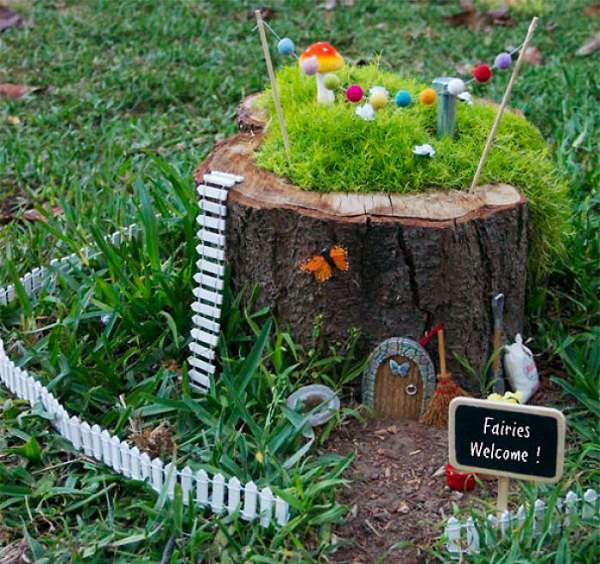 10 Amazing Tree Stump Ideas for the Garden   Balcony Garden Web Fantasize  imagine and experiment to design a tree stump fairy garden  If  you have children take help of them  ask them what to do with it  They ll  love it