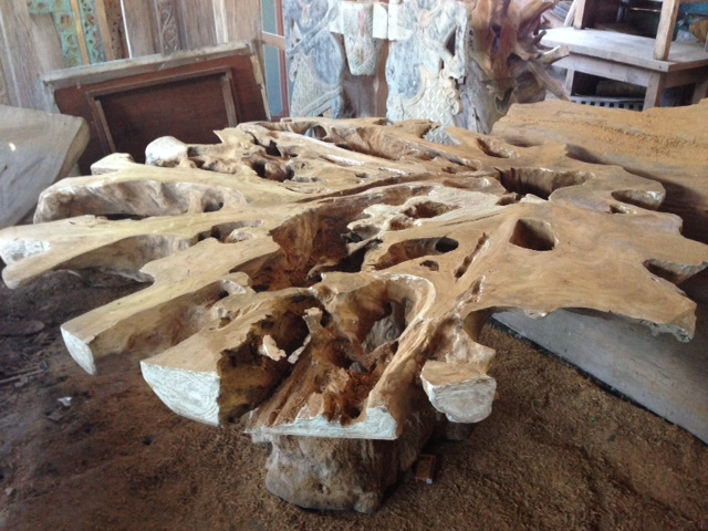 Dining Table Teak Root 165 Cm Bali Wood Slab