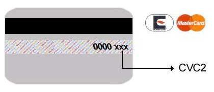 CVC2 MasterCard Cartões (9521 bytes)
