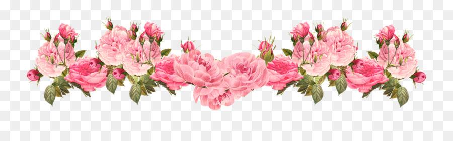 Rose Pink Vintage Art Border And Cream Clip