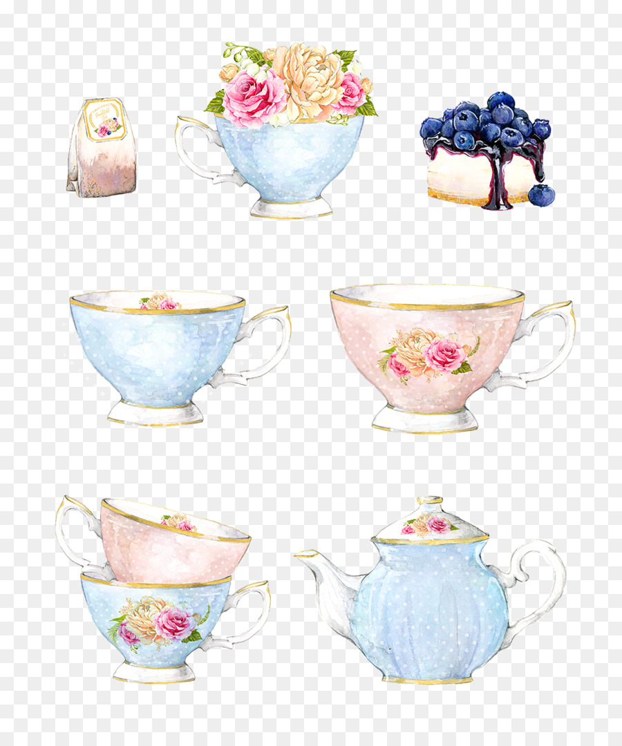 Watercolor Tea Cup Flower