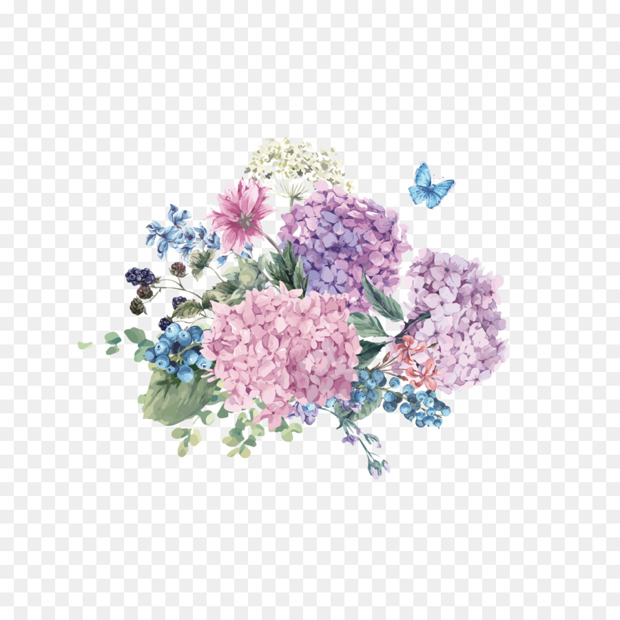 Hydrangea Flower Watercolor Painting Illustration