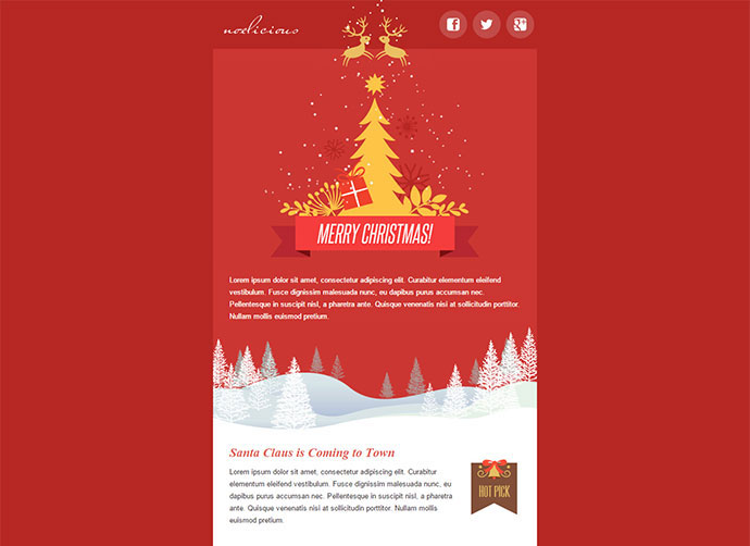 20 Wonderful Christmas   New Year Email Templates   Web   Graphic     Download Noelicious   Responsive Email Template