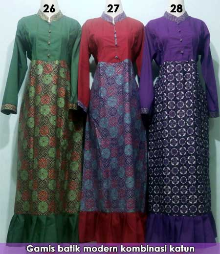 Image Result For Model Gamis Katun Motif Kombinasi Polos