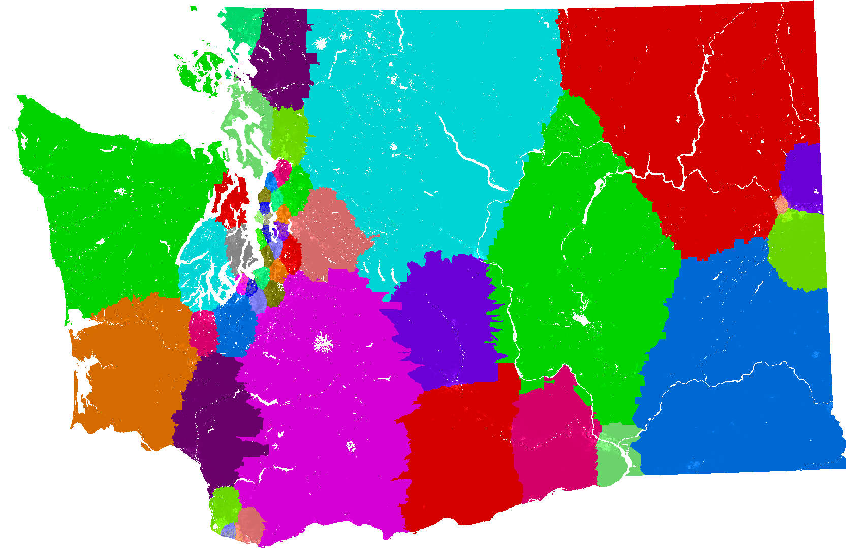 U S  Congressional districts redrawn by a computer to eliminate         his map for Washington s State Senate