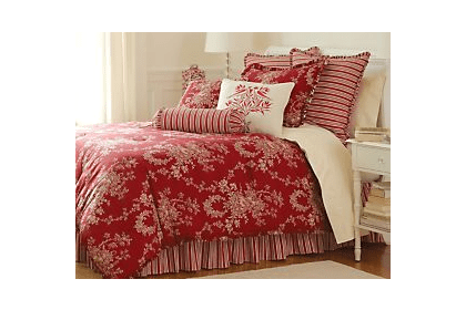 Red French Country Toile Bedding For Spring Bedding