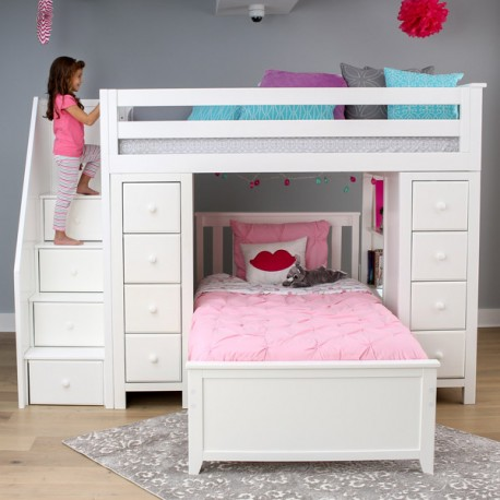 Chester 2 White Loft Bunk Bed Stairs Amp Storage