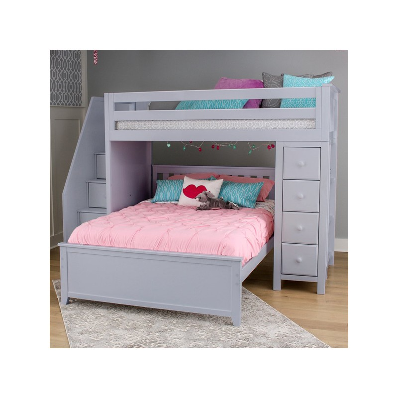 Oxford 1 Grey Loft Bunk Bed Stairs Amp Storage Solid