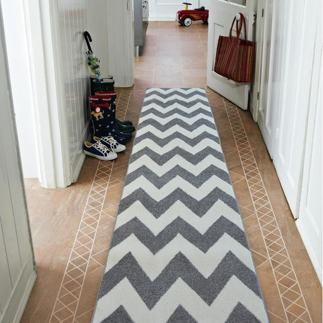 Modern Thick Hall Runner Sketch Zig Zag Grey Width 80 120Cm Extra | Zig Zag Carpet On Stairs | American Style | Asymmetric Stair | Before And After | Navy Pattern | Grey