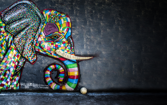 Download Wallpapers Graffiti With An Elephant Drawing On