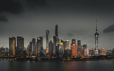 Download Wallpapers Skyscrapers Shanghai China Business