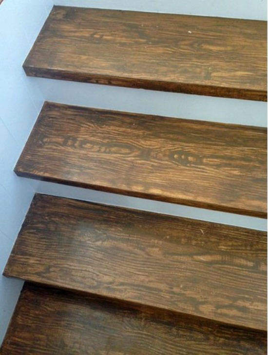Faux Wood Grain Stair Treads | Wood Grain Tile On Stairs | Natural Wood | Contemporary | Basement | Upstairs | Subway Tile