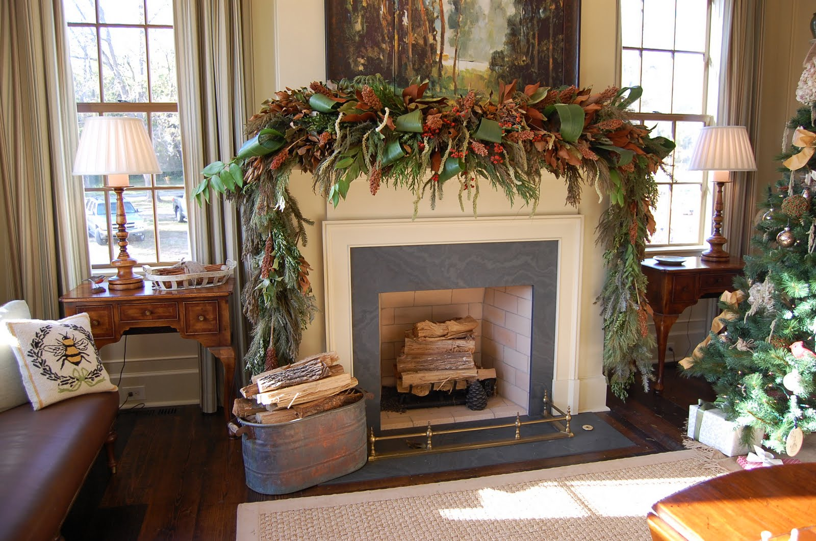 Natural Greenery Christmas Mantel in Southern Living Idea House     Natural Greenery Christmas Mantel in Southern Living Idea House     Between  Naps on the Porch
