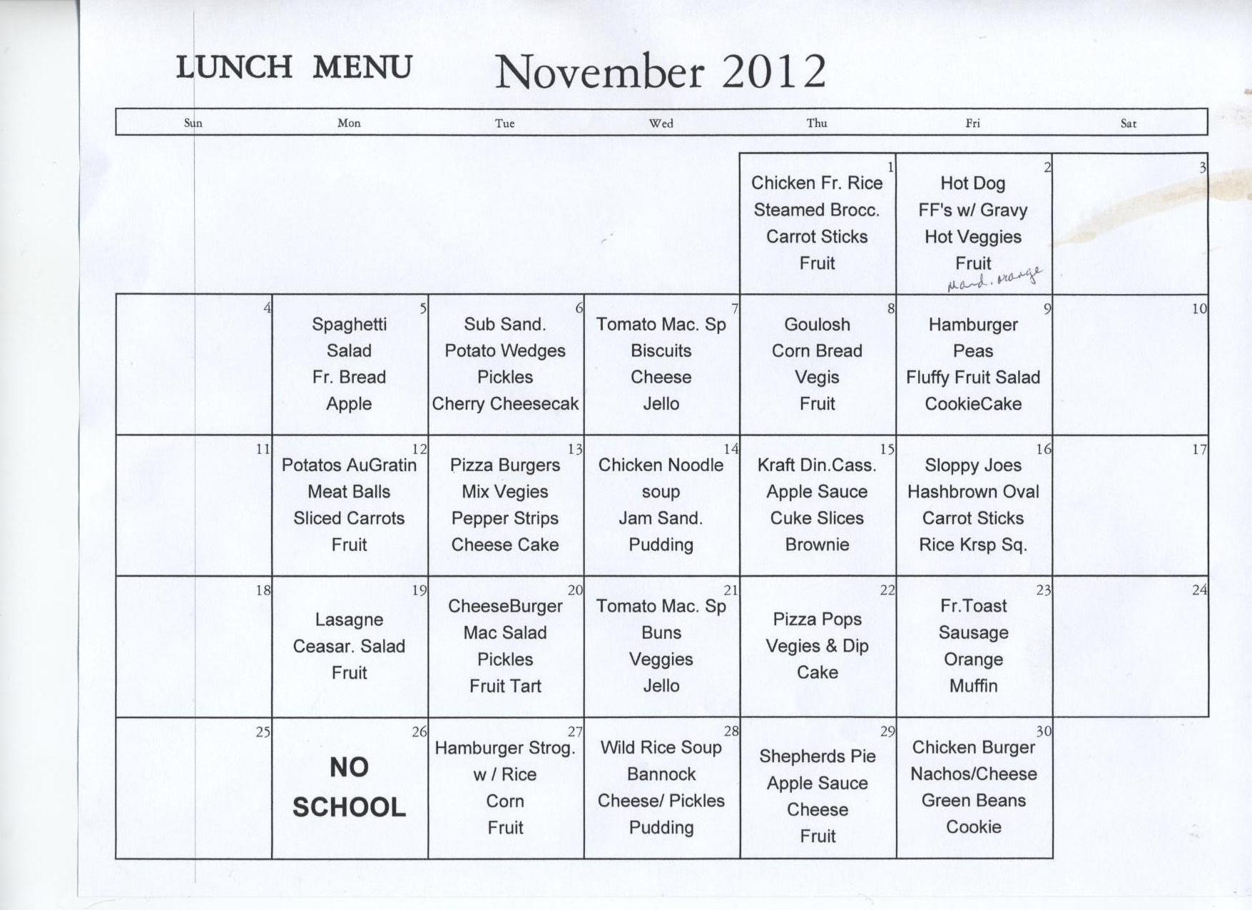 Secondary School Lunch Menu
