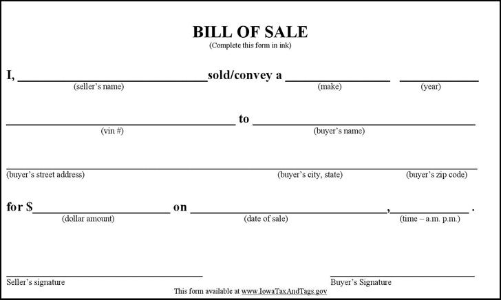gift motor vehicle bill sale template