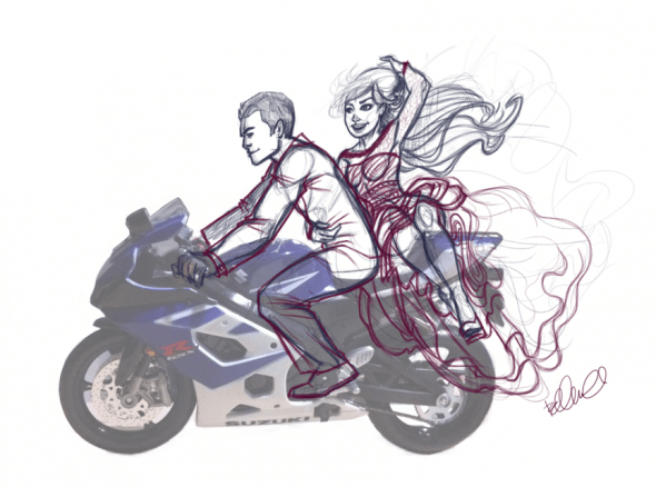 DIY Project  Wedding cake topper The first thought was him and I on his motorcycle  I went hunting online  for a replica of his motorcycle and I found his exact one  Now to sketch it  out