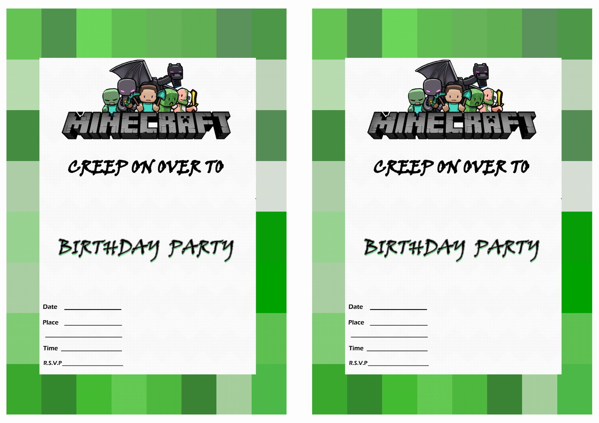 Printable Invitations Minecraft