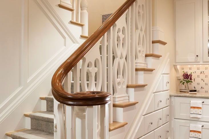Trying To Decide On A New Banister Bishop Woodcraft | New Handrail For Stairs | Replacement | Split Level Foyer | Enclosed Staircase | Inside | Split Entry