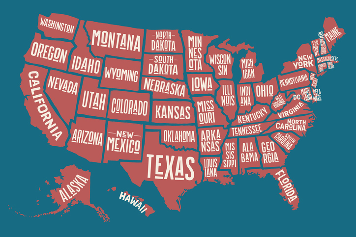 Poster Map United States Of America With State Names BlackDoctor - Map of the united states with state names