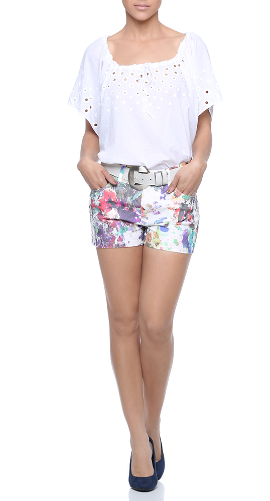 Look short com estampa floral