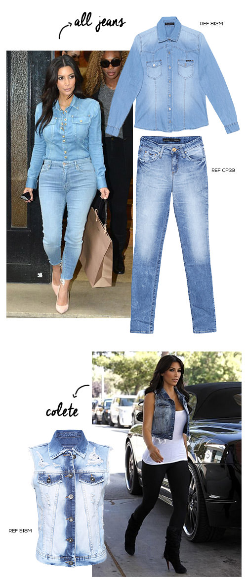 look all jeans e colete jeans
