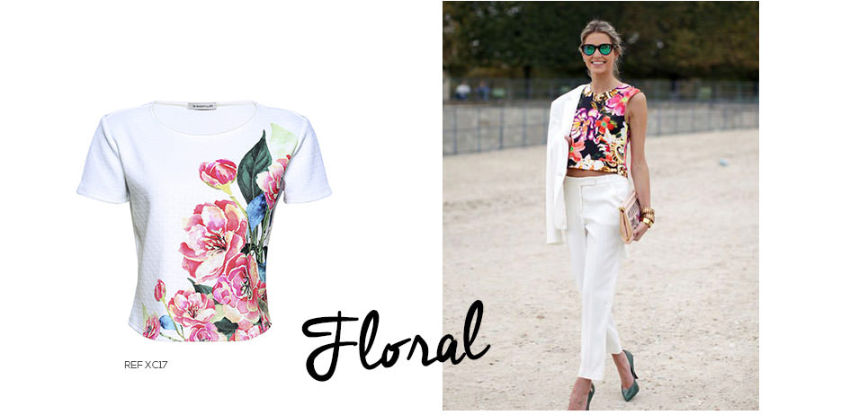 como usar top cropped floral