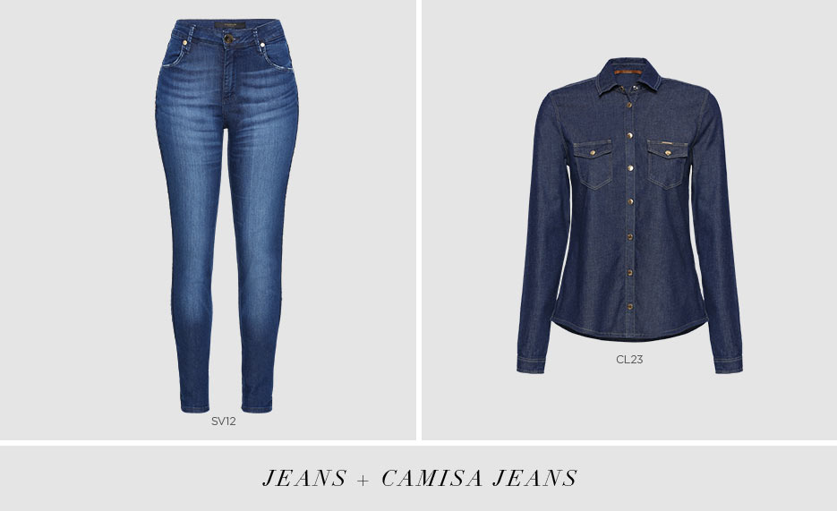 calca jeans e camisa jeans