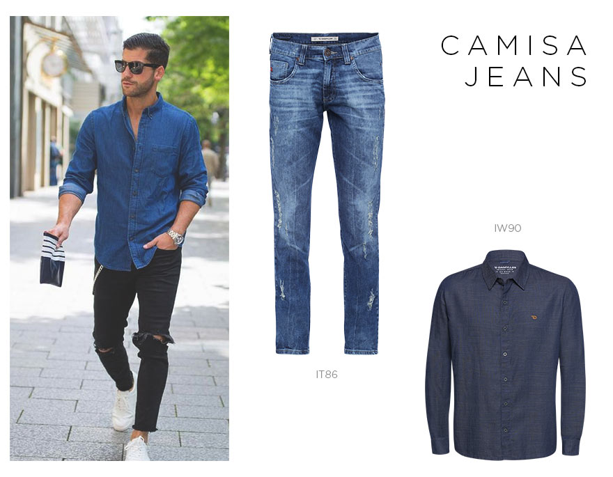 jeans destroyed masculino com camisa jeans