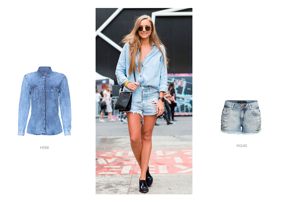 short jeans e camisa jeans