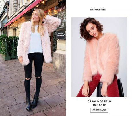casaco fake fur rose