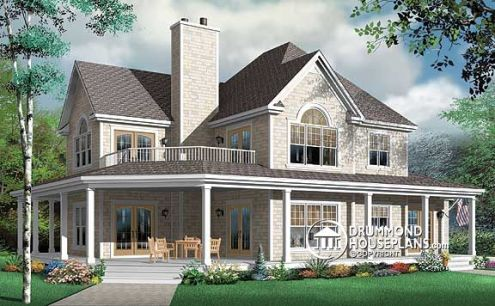 Perfect 4 bedroom house plans blended families   Drummond House Plans 3832 by Drummond House Plans  Country house plan with 4 bedrooms