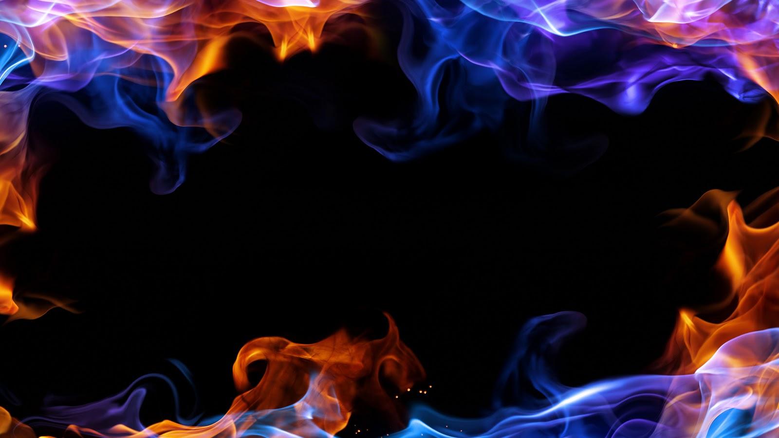 Blue Fire Border Flames